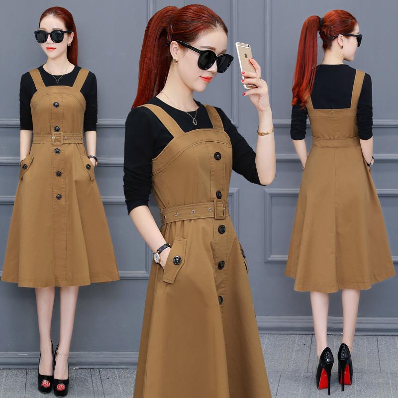 热卖新款2021春季新款韩版连衣裙女套装时尚修身显瘦气质淑女背带