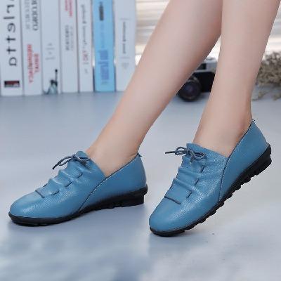 【头层牛皮软底】真皮女鞋系带圆头中年单鞋女士皮鞋韩版秋鞋平底