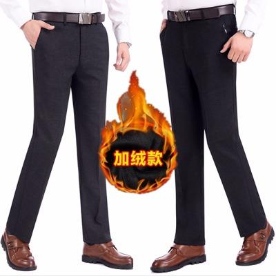 加绒高腰弹力休闲裤男,商务免烫永不变形有型易打理,透气保暖穿着舒适。