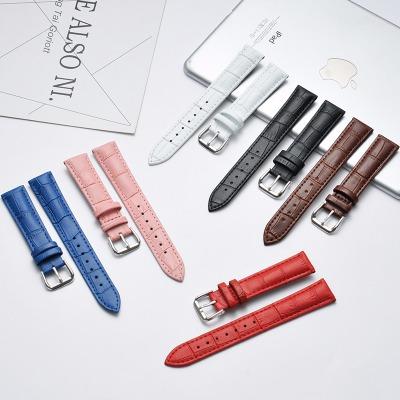 手表带小牛皮男女士真皮针扣表带皮表带手表配件【送工具+生耳】