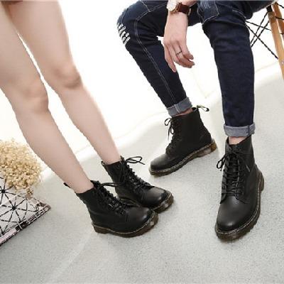 马丁靴男真皮大头鞋女英伦风中帮工装鞋潮流高帮冬季加绒保暖棉鞋