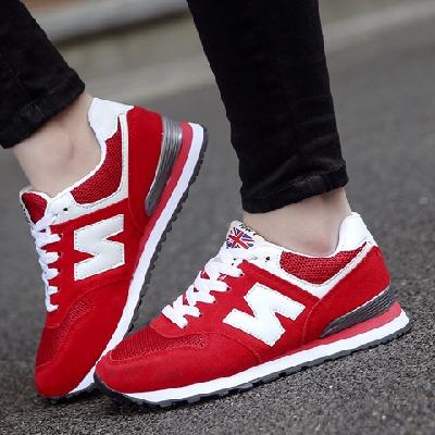 大码轻便运动鞋女41-43宽脚胖脚跑步鞋学生透气休闲鞋红色单鞋 42
