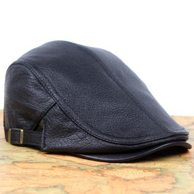 新款真皮帽子男士贝雷帽秋冬薄款女单绵羊皮前进帽休闲时尚鸭舌帽