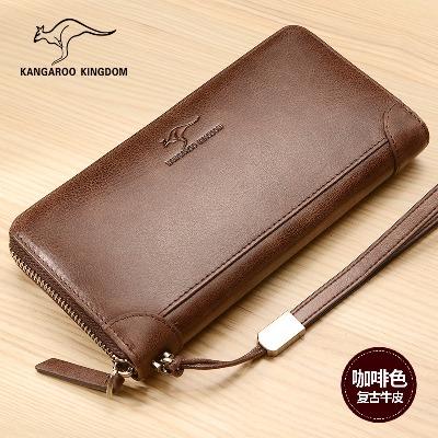 【袋鼠正品】男士钱包拉链长款真皮大容量手包时尚复古牛皮手机包
