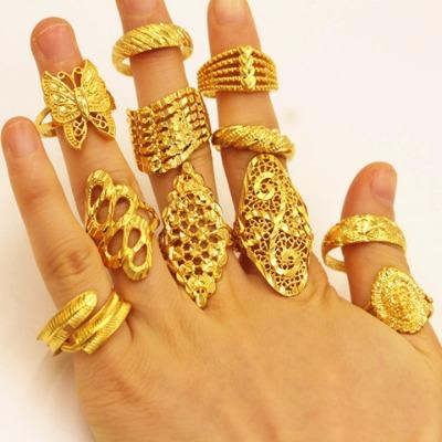 越南沙金简约个性百搭久不掉色欧币金饰品镀沙金婚庆戒指女款