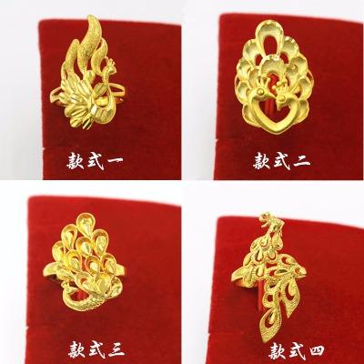 越南沙金个性时尚开口戒指女士指环新娘结婚首饰品镀金 久不掉色