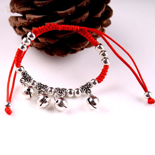 便宜的买一送一本命年转运铃铛时尚红绳手链脚女饰品复古红绳手脚链礼物