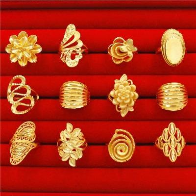 镀真黄金流行戒指女镀沙金久不掉色日韩时尚饰品沙金开口戒指