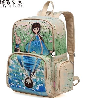 城市公主 VIP百搭双肩包女帆布学生书包新款手绘背包休闲潮电脑包