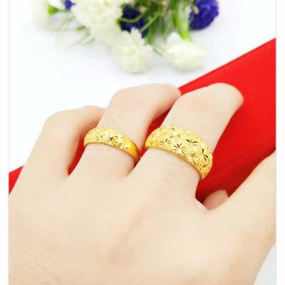 越南沙金戒指男女光面 满天星情侣对戒 活口可调节大小久不掉色