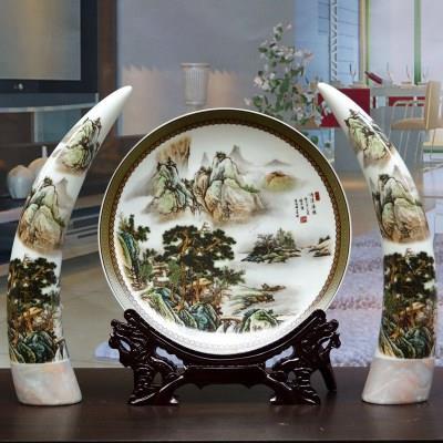 景德镇陶瓷花瓶三件套象牙装饰盘套装摆件现代家居客厅工艺品摆件