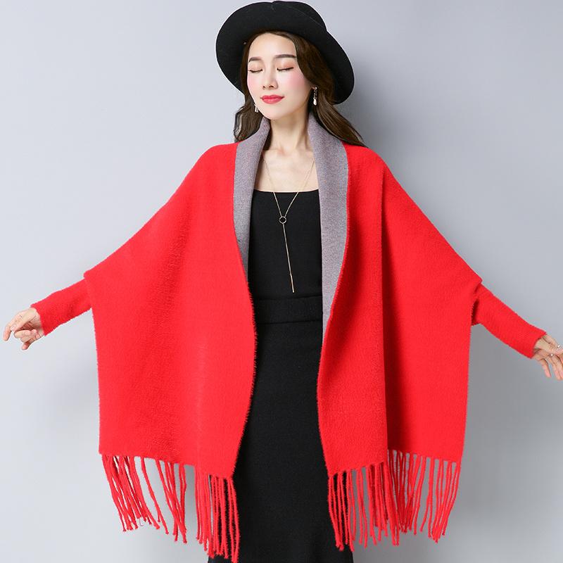 水貂毛斗篷披肩外套女秋冬带袖子的围巾羊绒流苏加厚保暖披风冬季