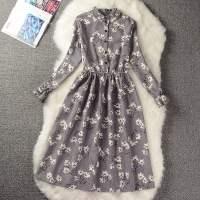 春季夏季女装复古灯芯绒小碎花连衣裙中长款学生印花打底裙子长袖