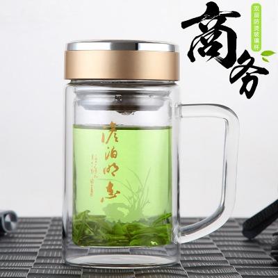 双层玻璃杯男女士家用泡茶杯子学生水瓶带把耐热玻璃水杯带手柄