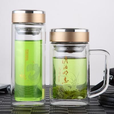 双层玻璃杯家用带把水杯办公茶杯男女士水杯子耐高温泡茶杯