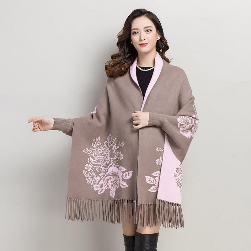 秋冬羊绒带袖披肩围巾两用二面可穿旗袍外搭流苏斗篷羊毛外套厚款