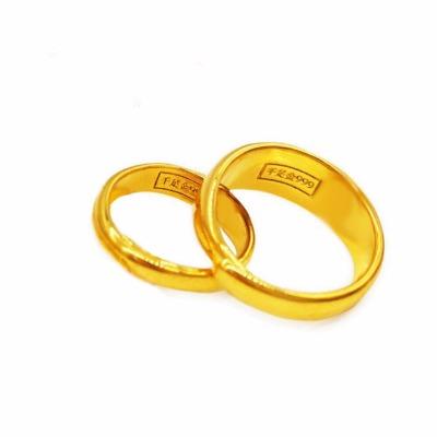 镀金经典越南沙金戒指男女情侣对戒可调节大小欧币金时尚首饰