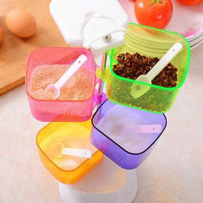 厨房彩色四层旋转式组合调味盒四件套格调味盒调味瓶罐创意旋转