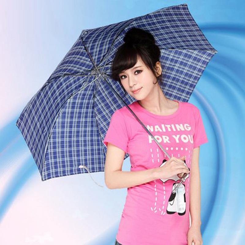 情侣格子雨伞 折叠太阳伞 短柄商务礼品伞颜色随机发