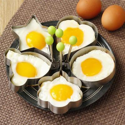 【5件套】煎鸡蛋模具 加厚不锈钢创意心形煎蛋器模具套装