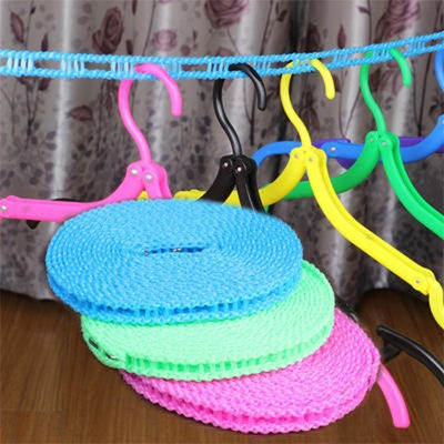 防滑晾衣绳晒被绳户外加粗凉衣绳子旅行便携防风栅栏式晒衣绳5米