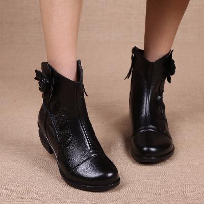 妈妈鞋棉鞋真皮女短靴粗跟马丁靴冬季新款民族风靴子中年中跟棉靴