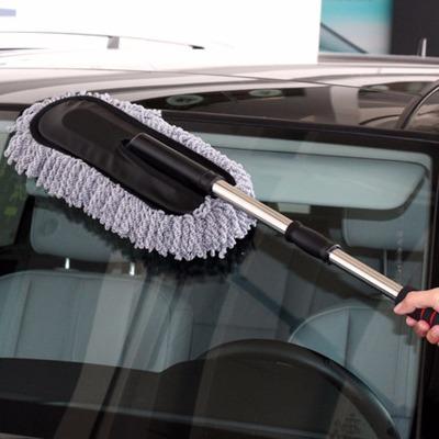 洗车工具汽车伸缩扁除尘掸纳米纤维蜡拖洗车刷除尘掸颜色随机