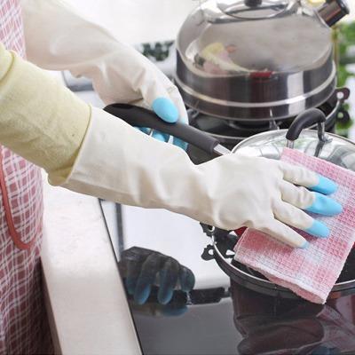 鲨鱼乳胶手套 防滑防水厨房清洁洗碗家务手套颜色随机