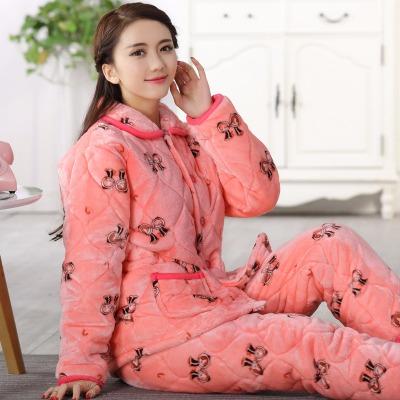 法兰绒三层夹棉睡衣女冬季加厚珊瑚绒棉袄可爱加绒保暖家居服套装