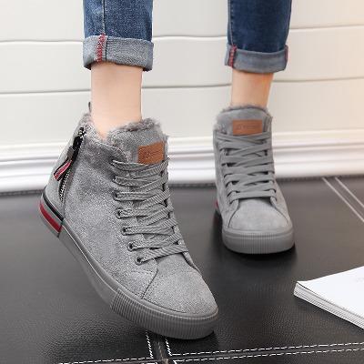人本棉鞋女士高帮系带冬季拉链加绒平底帆布鞋学生休闲冬季保暖鞋主图
