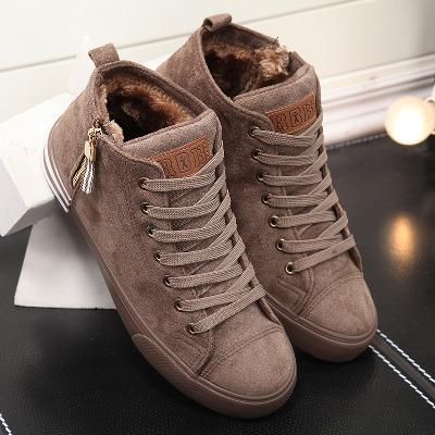 人本棉鞋男冬季高帮保暖加绒雪地靴鞋短筒系带侧拉链平底学生鞋男主图