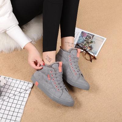 人本棉鞋女冬季加绒板鞋平底学生高帮帆布鞋子女韩版休闲雪地靴女主图