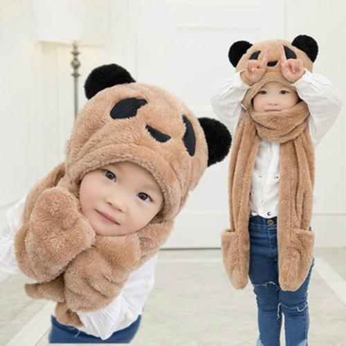 秋冬天儿童围巾帽子手套三件套一体护耳帽围脖加厚男女童学生脖套