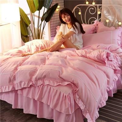 韩式床裙式床罩四件套全棉公主风蕾丝荷叶边被套纯棉纯色床上用品
