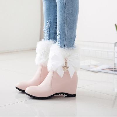 新款坡跟内增高短靴子越冬保暖棉靴加厚绒雪地靴女靴子公主靴大码