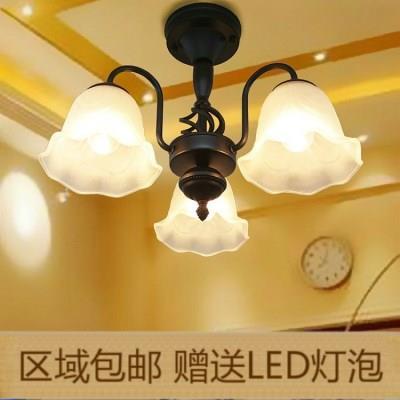 餐厅灯欧式吊灯小客厅灯田园简约灯具地中海卧室铁艺吸顶灯BD304