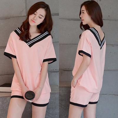 睡衣女夏季短袖短裤套装睡衣女士夏天家居服学生韩版可爱卡通宽松