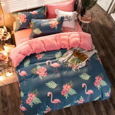 晶博洋家纺珊瑚绒四件套冬季加厚一面纯棉一面水晶法莱绒床上被套