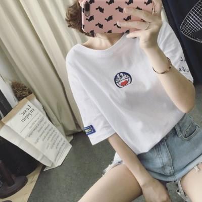韩版哆啦A梦叮当猫小清新甜美可爱T恤女夏装卡通刺绣宽松短袖学生