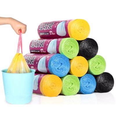 3卷装自动收口 垃圾袋加厚手提式 家用抽绳厨房垃圾袋 颜色随机