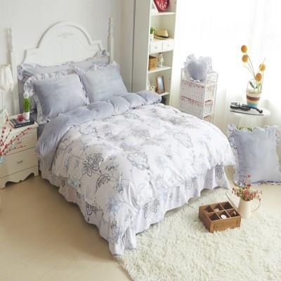 冬季a面纯棉b面珊瑚绒被套法莱绒床裙四件套床上加绒款加厚式全棉