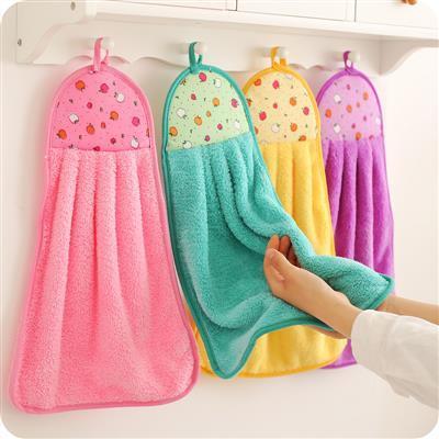 亏本冲量加厚珊瑚绒挂式擦手毛巾手帕厨房吸水挂巾抹布洗碗巾餐厅