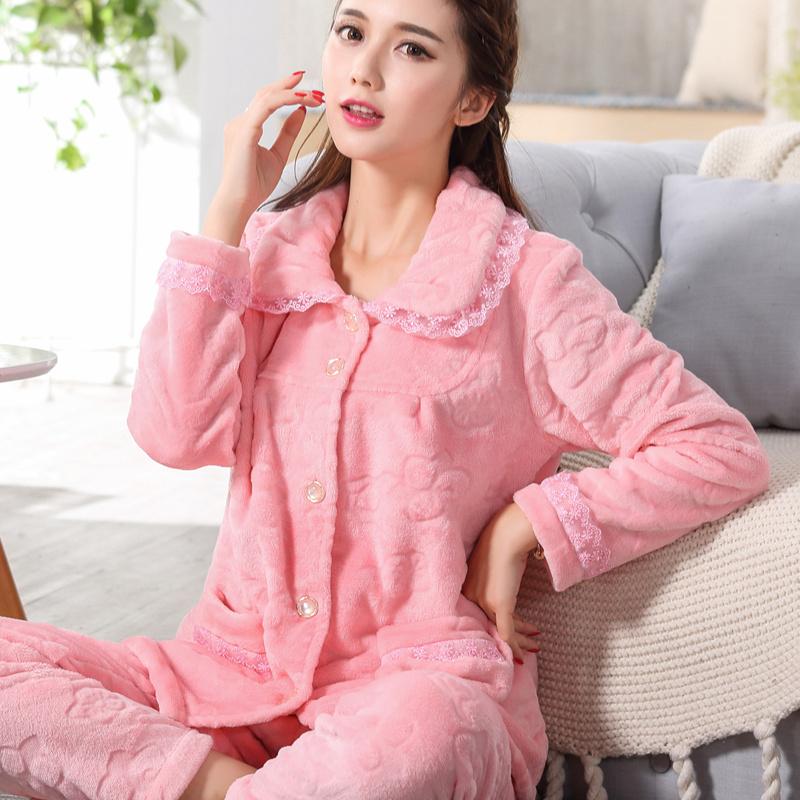 睡衣女秋冬加厚加绒法兰绒睡衣女套装珊瑚绒睡衣女家居服中年妈妈