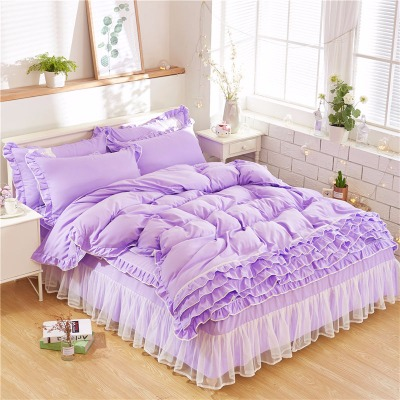 韩版浪漫公主蕾丝床裙四件套纯色简约公主风双人床罩多层花边被套