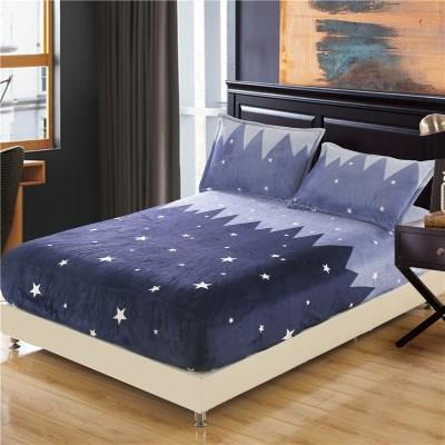 【精品床笠】加厚法莱绒床笠单件床罩防滑星星珊瑚法兰绒棕垫席梦思保护床垫套