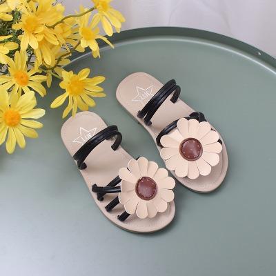 女童凉鞋子20新款韩版花朵凉拖鞋中大童夏季平底沙滩鞋儿童公主鞋