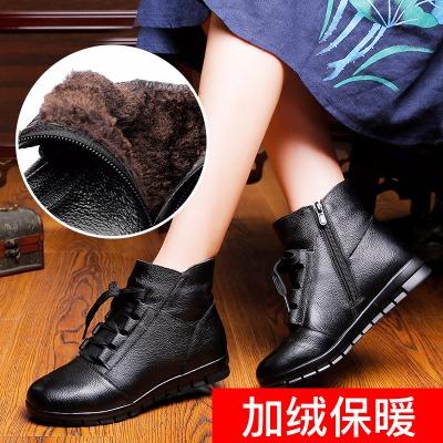 妈妈鞋棉鞋真皮女短靴2019冬季中年平跟休闲靴子中老年平底棉靴女
