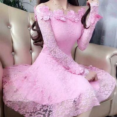 春秋新款立体花朵一字领蕾丝公主裙女修身显瘦连衣裙小礼服长袖潮