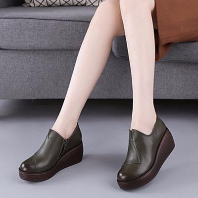 春秋深口女单鞋真皮坡跟鞋子松糕厚底韩版休闲皮鞋女式欧美范皮鞋