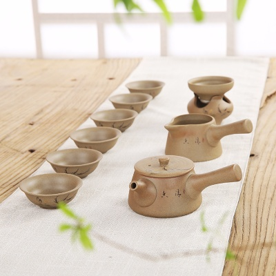 整套功夫茶具粗陶茶具套装景德镇手绘陶瓷泡茶器茶壶盖碗茶杯特价